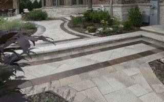 Brick Paving, Path Arounf The House, Glenview Hardscaping Project walkway steps