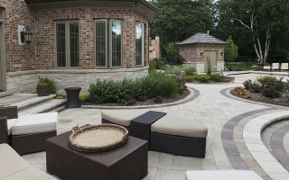 Outdoor Living Space, Patio, Brick Paving, Glenview Hardscaping Project