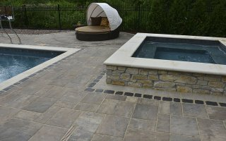UNILOCK Beacon Hill Flagstone, Courtstone, Jacuzzi View