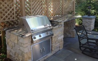 Natural Stone, Hardscaping Project grill patio