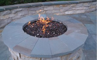 natural stone firepit glass chips